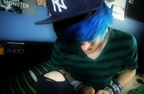 Blue Emo Hairstyle for Boys