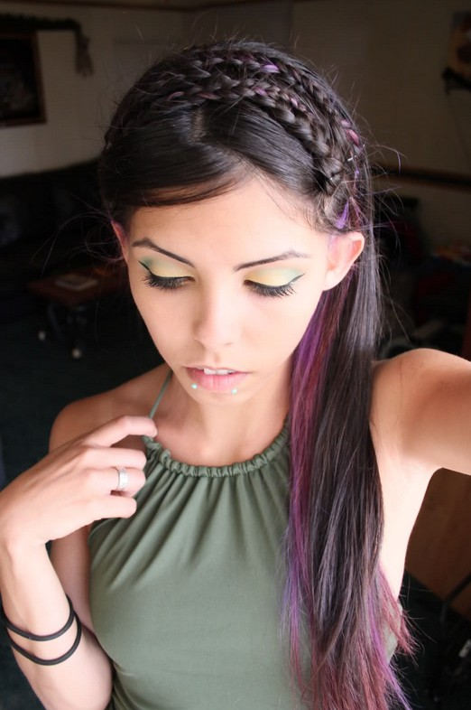 Brunette Hair With Purple Highlights - Cute Braided Long Hairstyle for ...
