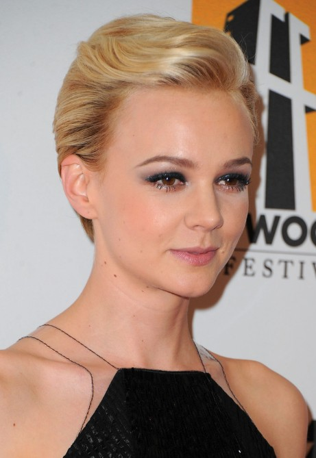 Short sleek blonde pixie cut  carey mulligan short haircut