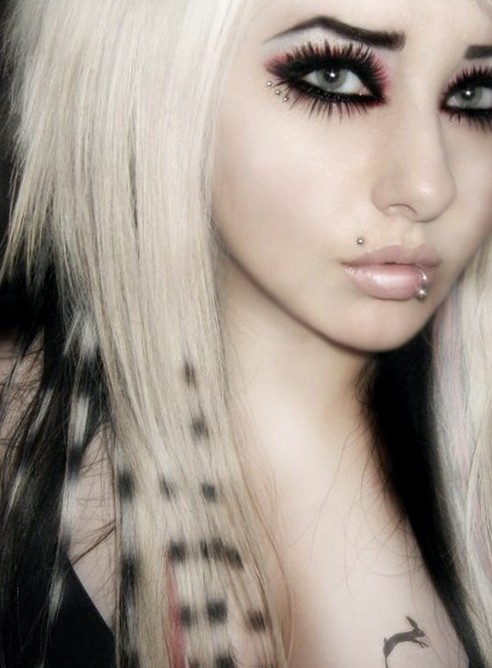 Cool Long Blonde Straight Emo Girls Hairstyles