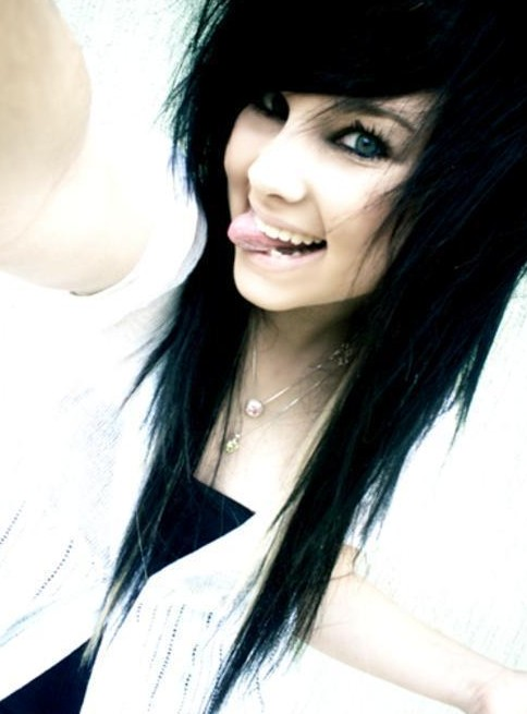 Cute Emo Girls Long Black Hairstyle