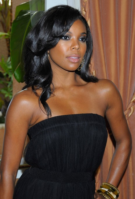 Gabrielle Union Long Black Curly Hairstyle for Prom
