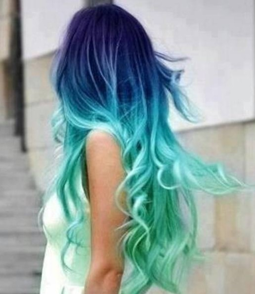 Indigo & Aqua in a Stunning Color Blend - Latest Ombre Hair Color ...