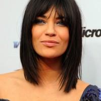 Jessica Szohr Medium Choppy Layered Straight Cut with Bangs