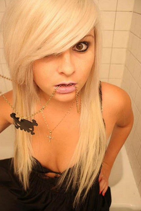 Long Blonde Emo Haircuts For Girls