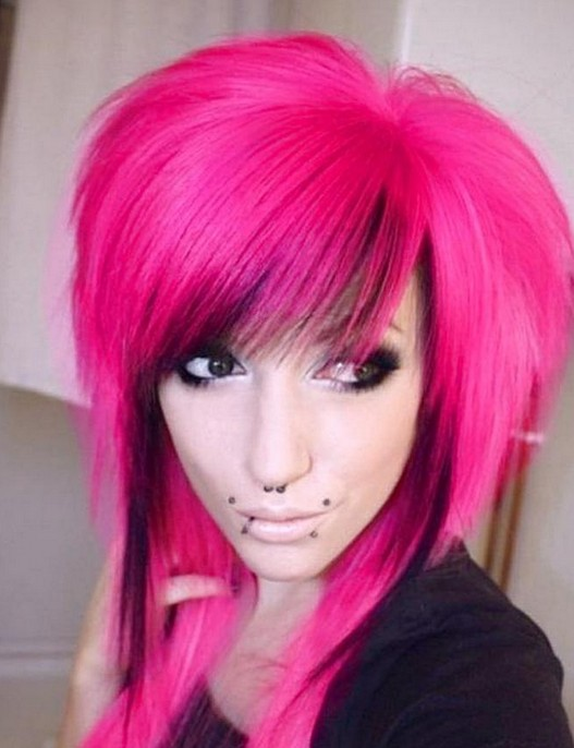 Long Pink Emo Hairstyles for Girls
