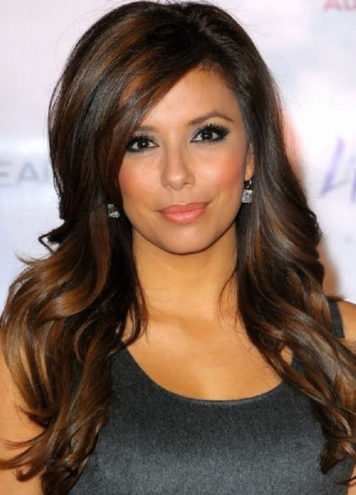 Long Wavy Dark Brunette Hair With Highlights – Long Hairstyles 2014 ...