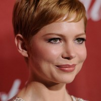 Layered Short Straight Haircut with Bangs - Michelle Williams Pixie Hairstyle 2014
