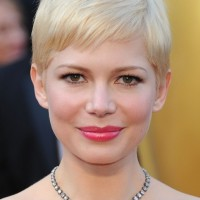 Michelle Williams Short Blonde Pixie Cut with Side Swept Fringes