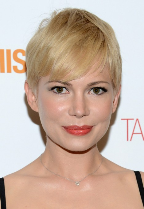 Short Blonde Pixie Haircut With Side Swept Bangs For Fine Hair