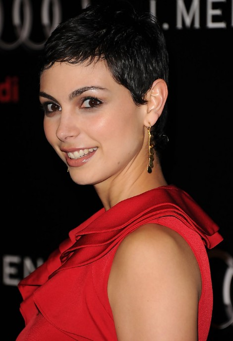 Short Black Curly Pixie Haircut for Women - Morena Baccarin Hairstyles