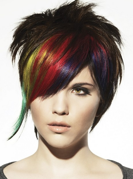 Multi Colored Punk Hairstyles with Layers