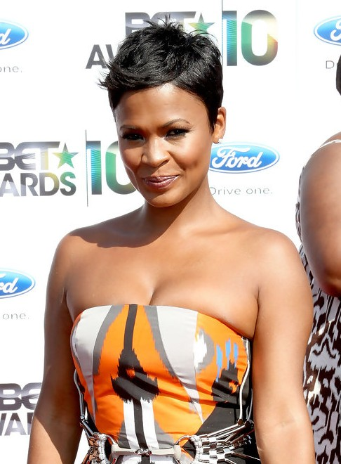Nia Long Tousled Side Parted Pixie Cut - African American ...