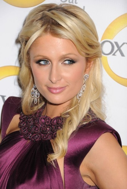 Paris Hilton Long Blond Half Up Half Down Curly Hairstyle