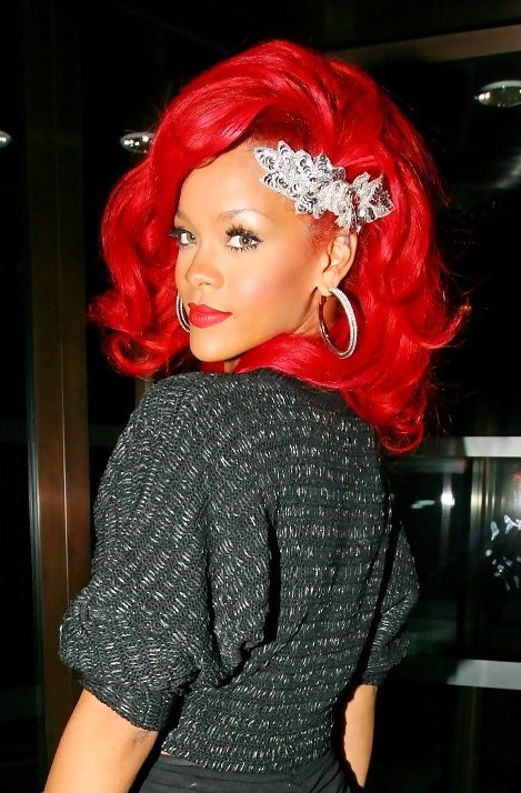 Rihanna Fiery Red Curly Hairstyle
