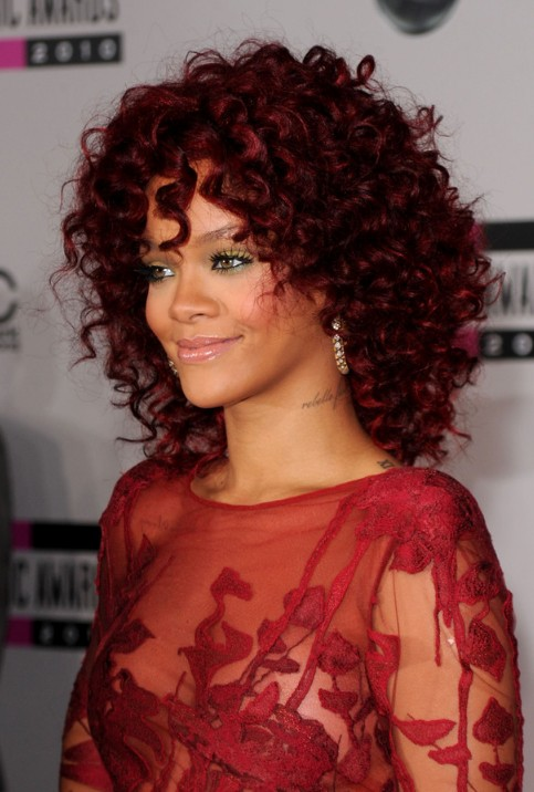 Rihanna Red Hairstyles Medium Curly Hairstyle For African