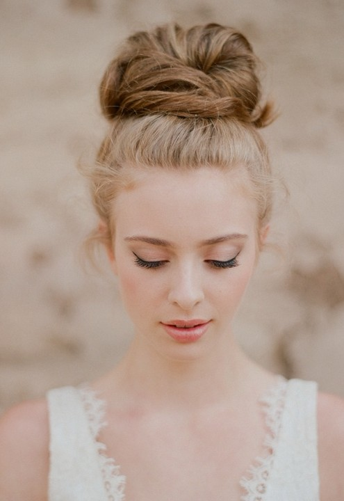 Romantic Top Knot Wedding Updo Summer