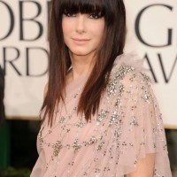 Sandra Bullock Straight Hairstyle with Bangs for Thin Hair
