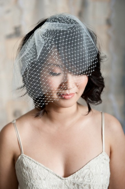 Short Black Wedding Hairstyle - Romantic Short Black Wavy Hair with Bangs