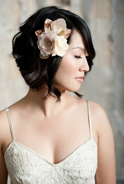 Short Sassy Wedding Hairstyles - Bridal Hair with Flowers