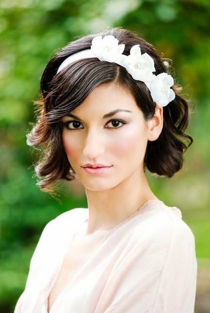 Short Wavy Curly Wedding Hairstyles - Wedding Hair with Headband ...