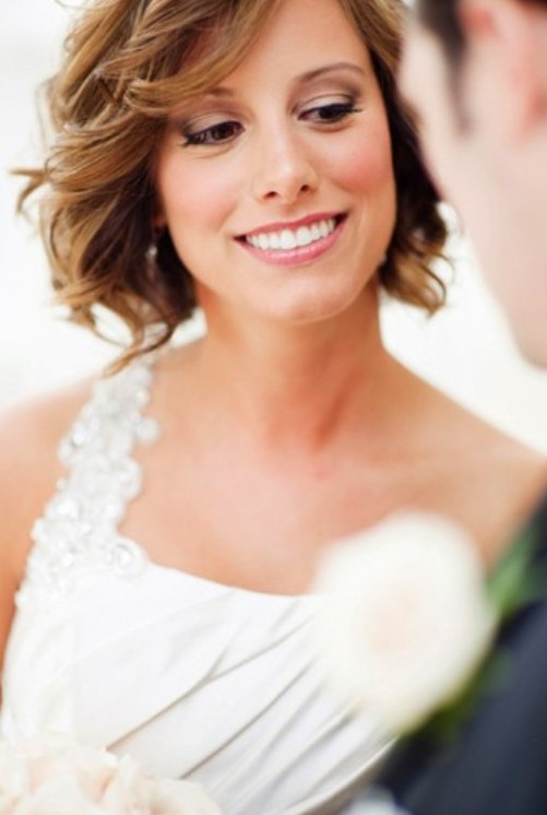 Wedding Hairstyles For Medium Hair With Bangs : Short wavy wedding hairstyle with bangs pretty designs