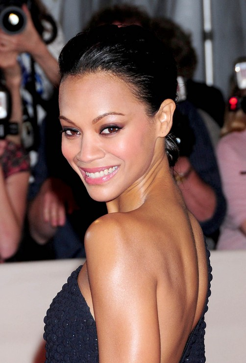 Zoe Saldana Black Bun Updo for Prom
