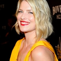 Ali Larter Bob Hairstyles - Medium Tousled Blonde Curly Bob Hairstyle for 2014