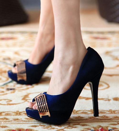 Blue Fish Head Style High Heels