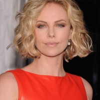 Textured Medium Curly Bob Hairstyle - Charlize Theron Hairstyles