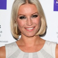 Classic Center Parted Platinum Blonde Bob Hairstyle - Denise van Outen Hairstyles
