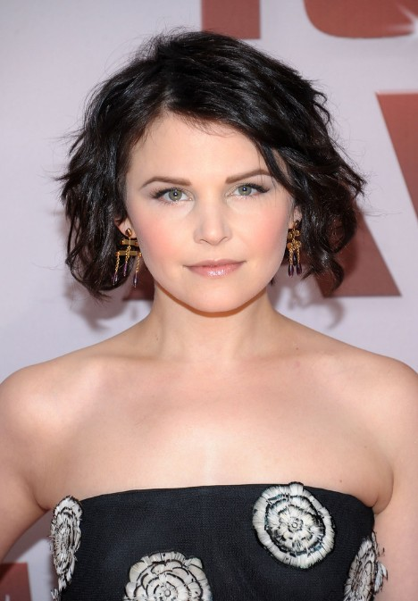 textured short black curly bob haircut ginnifer goodwin