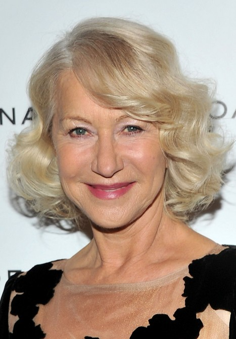 Chic Curly Bob Hairstyle for Older Women Over 60 – Helen Mirren