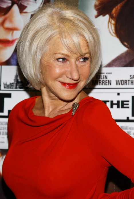 Short Straight Bob Hairstyles for Older Women Over 60 – Helen Mirren