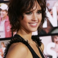 Cute Short Messy Bob Hairstyle with Bangs - Short Hairstyles 2014 - Jessica Alba Hairstyles