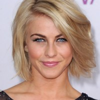 Short Voluminous Bob Hairstyle with Side Swept Bangs- Julianne Hough Hairstyles 2015