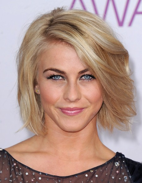 Short Voluminous Bob Hairstyle with Side Swept Bangs- Julianne Hough ...