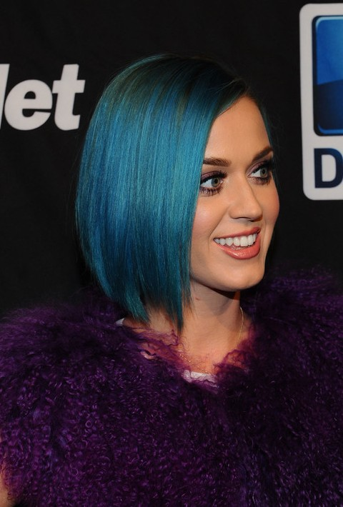 Short Straight Blue Bob Hairstyle for Women - Katy Perry Haircuts