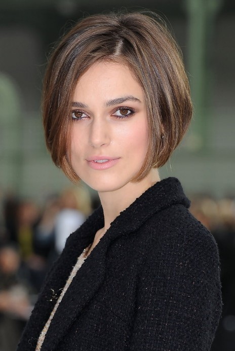 Casual Short Straight Concave Bob Hairstyles Keira Knightley Haircut