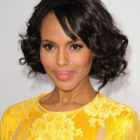 Kerry Washington Short Natural Black Curly Bob Hairstyle for Black Women