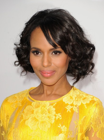 Kerry Washington Short Natural Black Curly Bob Hairstyle