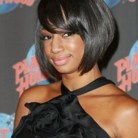 Short Black Sleek Bob Hairstyle with Bangs for African American - Monique Coleman Hairstyles