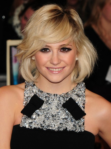 Layered Bob Hairstyle with Side Swept Bangs - Pixie Lott Haircut