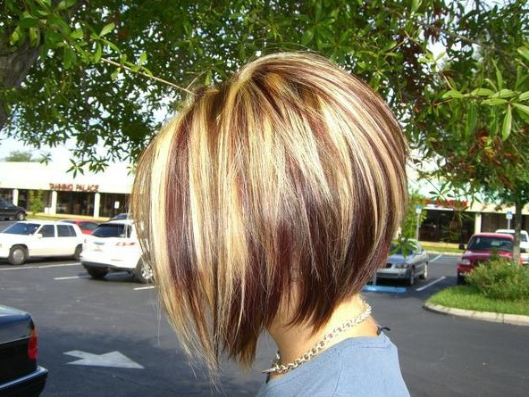 Inverted Bob Hairstyle with Highlights