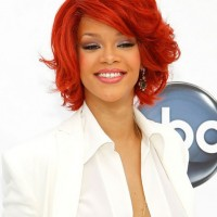 Medium Red Bob Hairstyle for Curly Hair - Rihanna Red Haircut