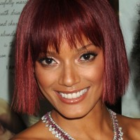 Short Red Bob Haircut with Blunt Bangs - Bob Hairstyles for Black Women