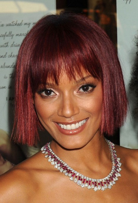 Short Red Bob Haircut with Blunt Bangs – Bob Hairstyles for Black ...