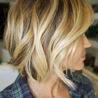 Side view of short wavy bob haircut