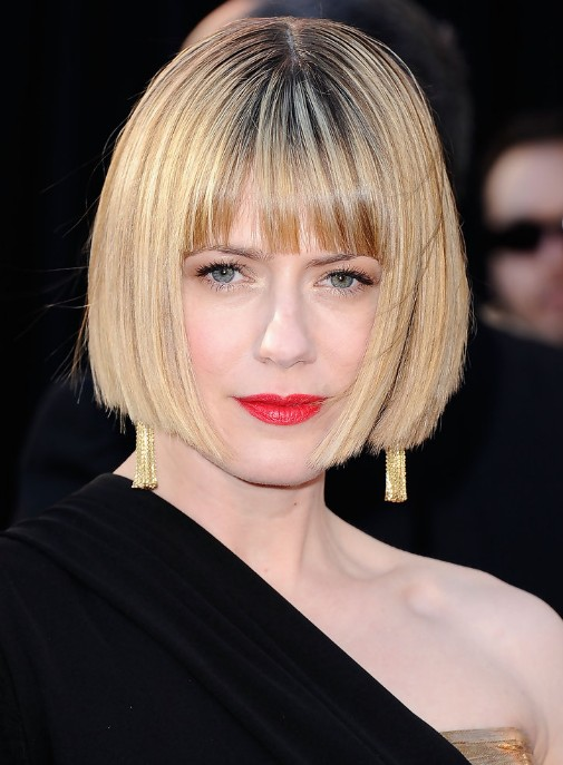 Concealer Creasing: Short Sleek Bob Haircut With Blunt Bangs