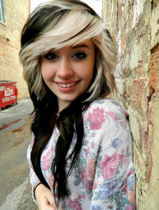2014 Black Hair with Blonde Highlights for Girls